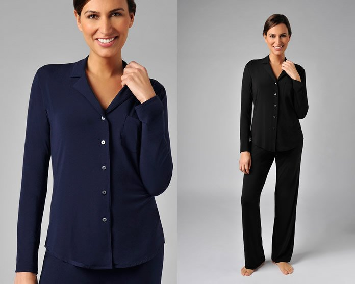 Naked Luxury Modal Sleep PJ Set Navy and Black